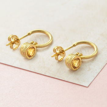 Gold Citrine November Birthstone Round Hoop Earrings