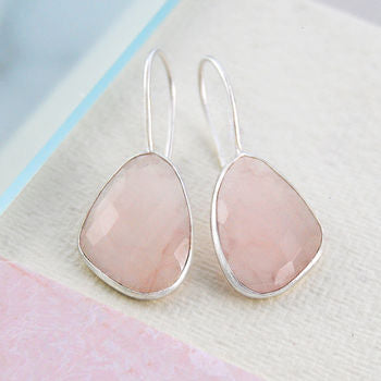 Silver Irregular Rose Quartz Drop Hook Earrings