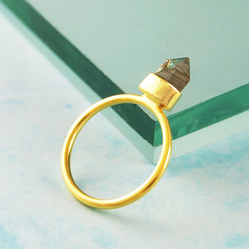 Gold Labradorite Geometric Crown Statement Ring