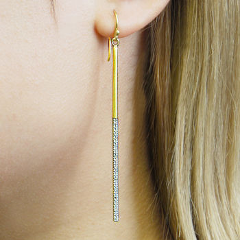 Gold Long Bar Topaz Birthstone Drop Statement Earrings