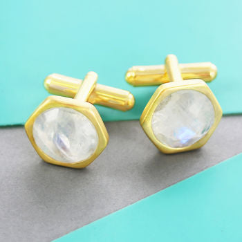 Gold Moonstone Geometric Hexagonal Cufflinks