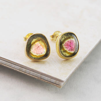 Gold October Birthstone Watermelon Tourmaline Studs