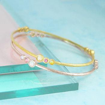 Gold Opal/Tourmaline Double Birthstone Bangle