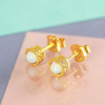 Gold Opal Birthstone Textured Stud Earrings