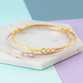 Gold Triple Stone Opal Birthstone Bangle