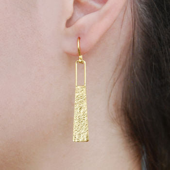 Gold Textured Roman Statement Drop Earrings
