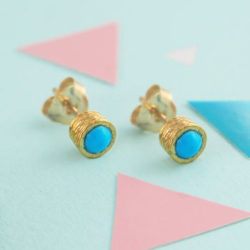 Gold Round Turquoise Birthstone Textured Earrings