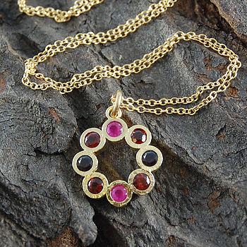 Gold Garnet And Ruby Flower Birthstone Necklace
