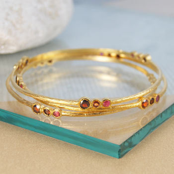 Gold Garnet Ruby Birthstone Triple Stone Bangle