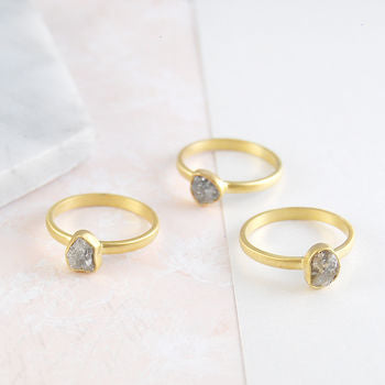 b2f1bbd13fd97 Gold Rough Diamond Birthstone Stacking Ring Set