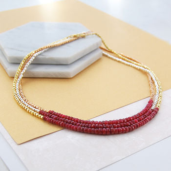 Ruby Birthstone Gold And Silver Necklace