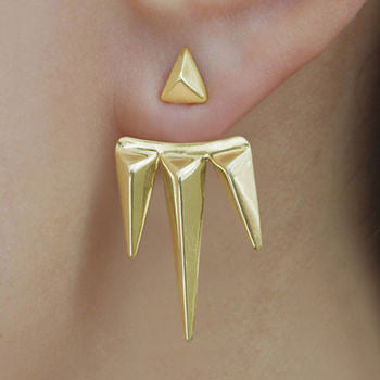 Gold Spike Two Way Earring Jackets