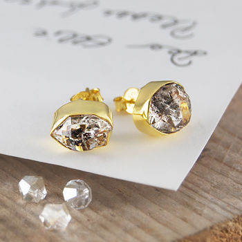 Gold Genuine Herkimer Diamond Birthstone Earrings