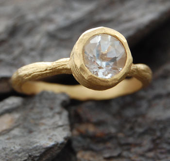 Gold Textured White Topaz Solitaire Stacking Ring