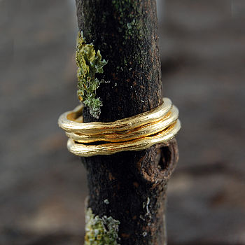 Gold Textured Single Stacking Band Ring