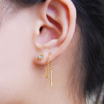 Gold And Silver Threader Raw Diamond Earrings
