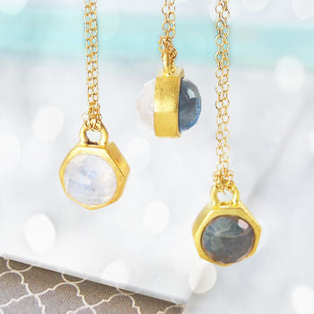 Gold Tiny Moonstone And Labradorite Charm Necklace