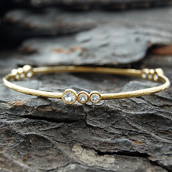 Gold And White Topaz Cellular Bangle