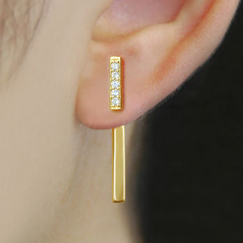 Gold White Zircon Pavé T Bar Earring Jackets