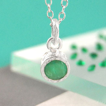 Green Emerald Birthstone Silver Necklace