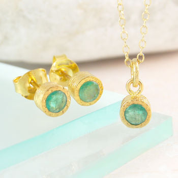 Green Emerald Precious Birthstone Gold Jewellery Set