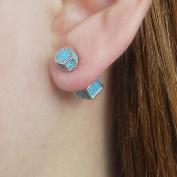 Black Gold/Silver Turquoise Birthstone Stud Earrings