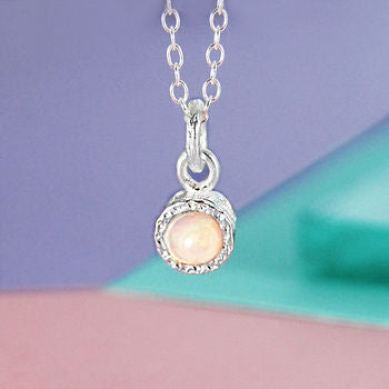 Iridescent Opal Birthstone Silver Necklace