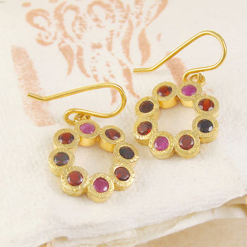 Garnet And Ruby Flower Gold Drop Earrings