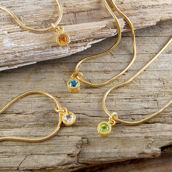 Assorted Charm Gold Birthstone Bracelet
