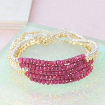 Gold/Silver Ruby Birthstone Friendship Bracelets