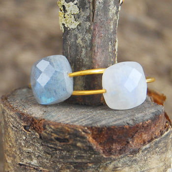 Faceted Gold Labradorite/Moonstone Ring