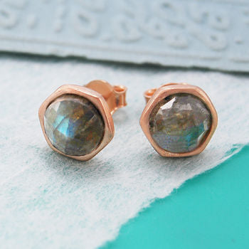 Labradorite Gemstone Rose Gold Stud Earrings