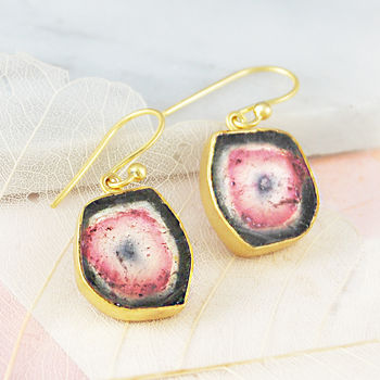 Layered Watermelon Tourmaline Gold Birthstone Earrings