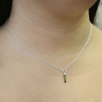 Gold October Birthstone Tourmaline Shard Bar Necklace