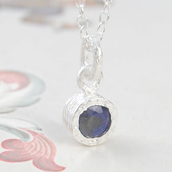 Genuine Blue Sapphire Birthstone Silver Earrings