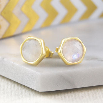 Moonstone Gold Birthstone Faceted Stud Earrings
