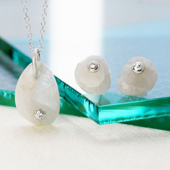 Moonstone Silver White Topaz June Birthstone Necklace