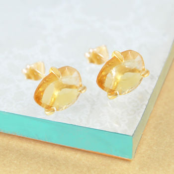 Citrine Birthstone Gold Stud Earrings
