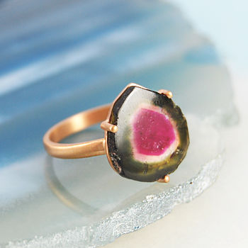 October Watermelon Tourmaline Rose Gold Cocktail Ring