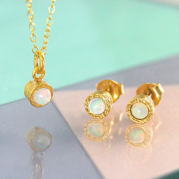 Gold Opal Birthstone Earrings And Necklace Set