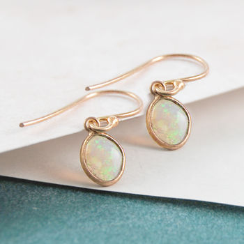 Welo Opal October Birthstone Rose Gold Drop Earrings
