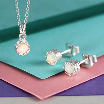 Opal Birthstone Silver Jewellery Set