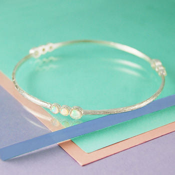 Opal Triple Gemstone Sterling Silver Bangle