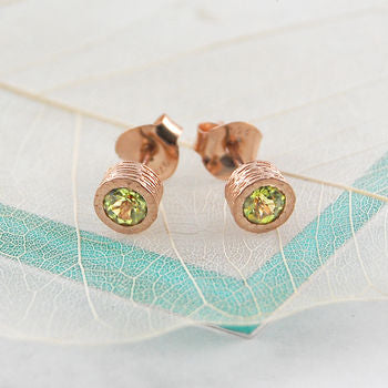 Peridot Faceted Rose Gold Stud Earrings