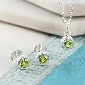 Silver Jewellery Green Peridot Birthstone Set