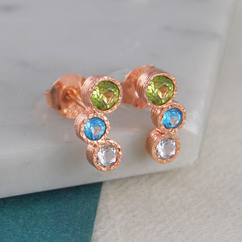 Peridot Topaz Birthstone Rose Gold Stud Earrings