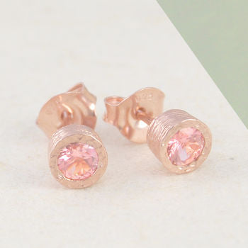 Pink Tourmaline Birthstone Rose Gold Jewellery Set