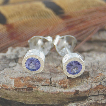 Silver Purple Tanzanite Gemstone Stud Earrings