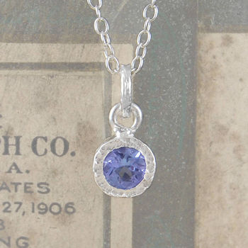 Precious Tanzanite Birthstone Round Silver Necklace