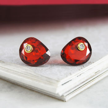 Red Garnet Topaz Birthstone Stud Gold Earrings